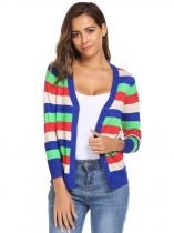 Multi-color3 V-Neck 3/4 Sleeve Patchwork Thread Hem and Cuffs Button Cardigans