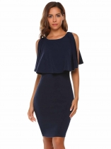 Navy blue Sleeveless Ruffles Keyhole Back Bodycon Pencil Dress