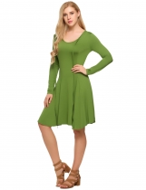 Green Tie Front Plunge Asymmetric Swing Dress