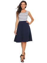 Navy blue Sleeveless Striped Patchwork Fit and Flare Dress