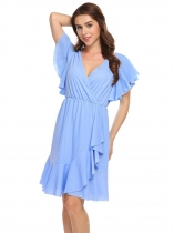 Light blue V-Neck Short Sleeve Solid Cascading Ruffles Dress