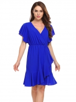 Royal Blue V-Neck Short Sleeve Solid Cascading Ruffles Dress