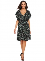 Black Ruffles Sleeve Floral Short Dress