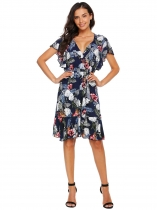 Dark blue Ruffles Sleeve Floral Short Dress