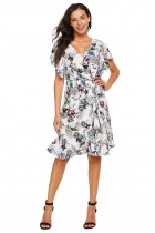 White Ruffles Sleeve Floral Short Dress