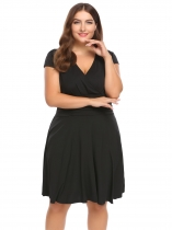 Black Plus Size V-Neck Cap Sleeve Ruched Waist Dress