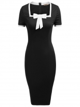 Black Mujeres Moda cuello cuadrado de manga corta Bow-Tie Bodycon Slim Pencil Dress