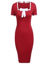 Rojo Mujeres Moda cuello cuadrado de manga corta Bow-Tie Bodycon Slim Pencil Dress