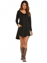 Black V-Neck Long Sleeve Solid Asymmetrical Short Dress