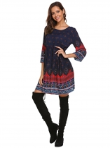 Blue Women Bohemian Style 3/4 Sleeve Tribal Print Loose Casual Tunic Dress