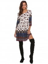 White Femmes blanches Bohemian Style 3/4 Sleeve Tribal Print Loose Casual Tunic Dress