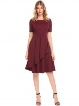 Dark red Women High Waist Round Neck Short Sleeve Ruffles Solid Slim Dress