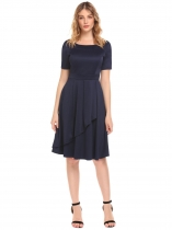 Navy blue Women High Waist Round Neck Short Sleeve Ruffles Solid Slim Dress