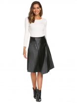 Black High Waist Solid Slit PU Skirt