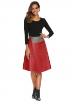 Red High Waist Solid Slit PU Skirt