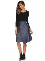 Blue High Waist Solid Slit PU Skirt