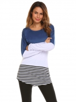 Blue white Long Sleeve Striped Patchwork O Neck Casual Top