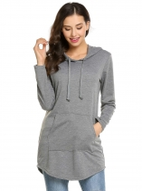 Dark gray Long Sleeve Solid Drawstring Pockets Hoodie
