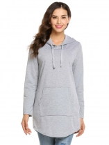 Light gray Long Sleeve Solid Drawstring Pockets Hoodie