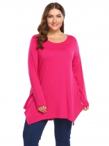 Rose red Plus Size Long Sleeve Solid Loose Irregular Hem Tops