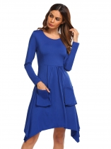 Royal Blue O-Neck Long Sleeve Solid A-Line Dress