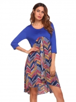 Royal Blue O-Neck 3/4 Sleeve Patchwork Loose Dress