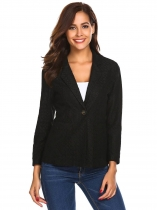 Black Women's Notch Lapel Long Sleeve One Button Slim Fit Lace Casual Blazer
