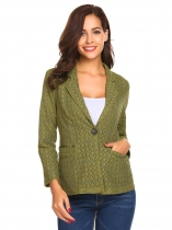 Deep green Women's Notch Lapel Long Sleeve One Button Slim Fit Lace Casual Blazer