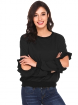 Black O-Neck Ruffles Open Elbow Sleeve Solid Pullover Sweatshirt