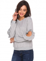 Gray O-Neck Ruffles Open Elbow Sleeve Solid Pullover Sweatshirt