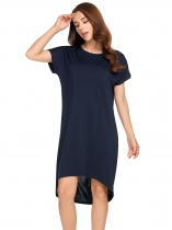 Navy blue Short Sleeve Solid O Neck Loose Dress