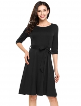 Black Half Sleeve Solid Belted Casual Dress