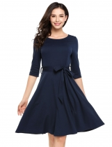 Navy blue Half Sleeve Solid Belted Casual Dress