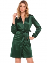 Dark green Surplice Neck Satin Self-Tie Belt Dress