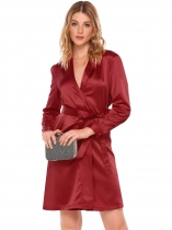 Wine red Surplice Neck Satin Self-Tie Belt Dress