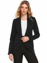 Black Shawl Collar Long Sleeve Open Front Solid Blazer
