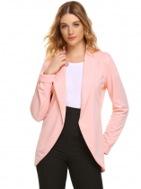 Pastel pink Shawl Collar Long Sleeve Open Front Solid Blazer