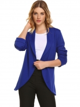 Royal Blue Shawl Collar Long Sleeve Open Front Solid Blazer