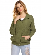 Army green Turn Down Collar Button Down Loose Lightweight Jacket