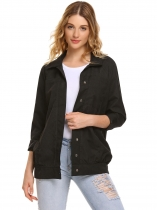 Black Turn Down Collar Button Down Loose Lightweight Jacket