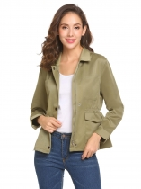 Army green Women Casual Solid Long Shirt Sleeve Elastic Waist Zipper Pocket Button Jacket