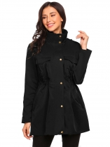 Black Women Stand Collar Long Sleeve Zip-up Lightweight Jacket