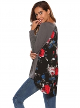 Gray O-Neck Long Sleeve Floral Patchwork Asymmetrical Tops
