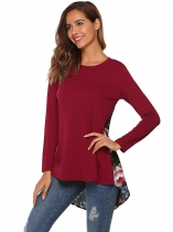 Wine red O-Neck Long Sleeve Floral Patchwork Asymmetrical Tops