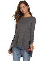 Gray O-Neck Long Sleeve Back Floral Patchwork Asymmetrical Tops
