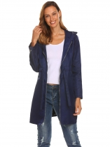 Navy blue Women Hooded Long Sleeve Front-Zip Lightweight Coat