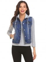 Dark blue Women Hooded Sleeveless Frayed Denim Vest