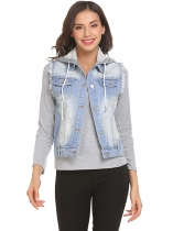 Light blue Women Hooded Sleeveless Frayed Denim Vest