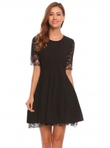 Black O-Neck Half Sleeve Lace A-Line Pleated Dress