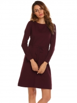 Wine red Long Sleeve Solid Drawstring Waist Casual Dress
